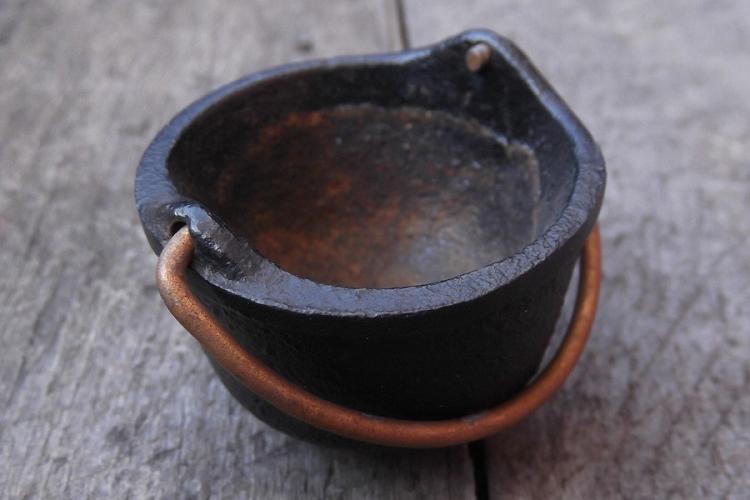 Vintage Miniature Cast Iron Cauldron