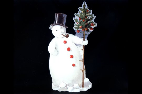 Large Die Cut Smoking Snowman With Top Hat And Tree