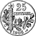 25 Centimes Rubber Stamp