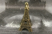 Large 3D Antiqued Brass Eiffel Tower Charm