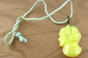 Vintage Pressed Butterscotch Yellow Glass Charm - Woman's Profile