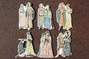 Set of 6 Die Cut Ornaments Featuring Medieval Costumes