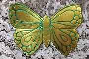 Vintage Golden Butterfly Dresden with </br> Green Highlights