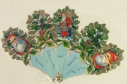 Victorian Style Folding Fan Featuring Santa and Holly