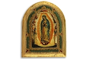 Antique Style Wooden Icon: Our Lady of Guadalupe