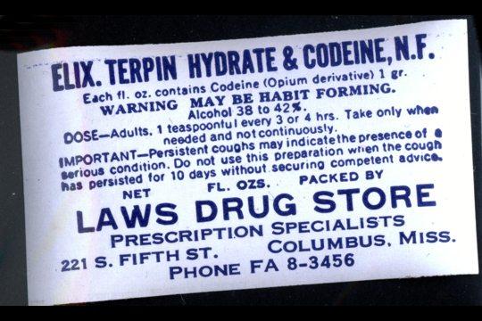 Vintage Elixir Of Terpin Hydrate Amp Codeine Label