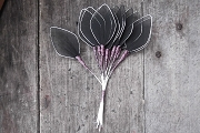 Vintage Pointed Black Mesh Leaves with Silver Border - Bunch of 12
