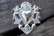Hand-made Nickel Plated Heart Milagro with Angels