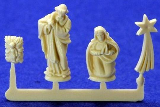 Tiny Molded Plastic Vintage Nativity Set