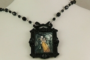 Day of the Dead of Night Framed Necklace on Jet Crystal Rosary Chain