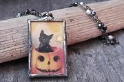 Handmade Hallowe'en Trick or Treat Necklace on Rosary Chain