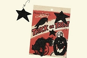 Set of 5 Hallowe'en Shape Ornaments - Black Glitter