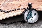 Crow Reading Book in Black Enamel with Matching Chain