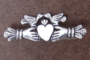 Handmade Sterling Silver Claddagh - Heart & Hands Pin with Birds in Anti-Tarnish Pouch
