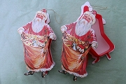 Vintage Die Cut Cardboard & Plastic Santa Candy Container with Golden Accents