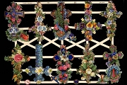 Reproduction Chromolithograph Embossed Die-Cut Scrap Reliefs - Floral Crosses