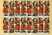 Authentic Vintage Chromolithograph highly Embossed Die-Cut Reliefs - 16 Olde Tyme Santas
