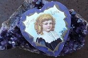 Vintage Embossed Purple Valentine Heart with Curly Haired Child