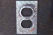 Natural Bright Tin Silver Switch Plate for Double Receptacle