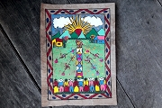 Traditional Amate Painting on Bark Paper - The Ribbon Dance (El Baile de Cintas)