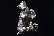 Hand Made Artisan Sterling Silver Hanging Bear Bead