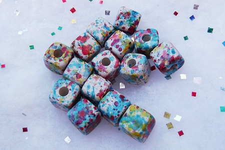 Candy Sprinkle Colored Ceramic Cube Bead