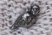 Silvery Crow With a Woman's Face Bead