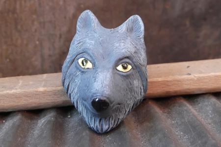 Large Grey Wolf Bead with Yellow Eyes
