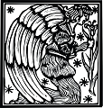 Angel Woodcut Rubber Stamp