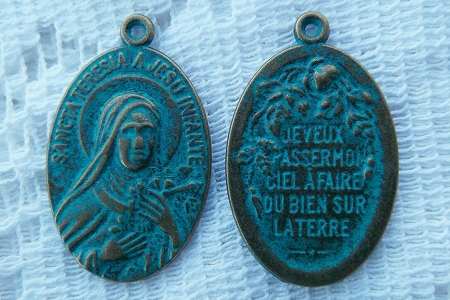 Glorious Patinaed Medal featuring Sancta Teresia (Saint Therese of Lisieux)