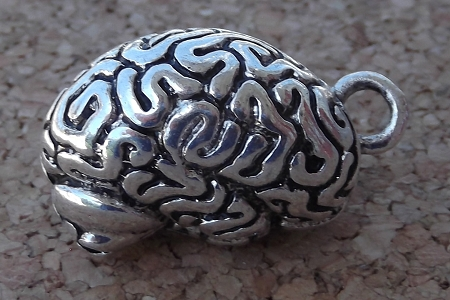 Antiqued Silver Anatomical Brain Pendant