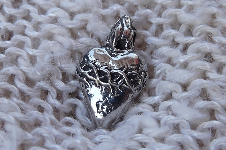 3-D Silvery Sacred Heart Pendant or Charm