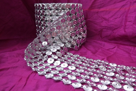 Wide Silvery Sequin Ribbon by the Inch