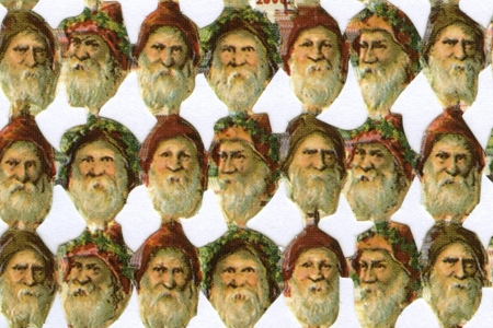 Reproduction Chromolithograph Diecut & Embossed Scraps (262 per page!) - SANTA HEAD MINI