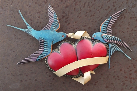 Exquisitely Painted Hearts with Swallows Hanging Wall Décor