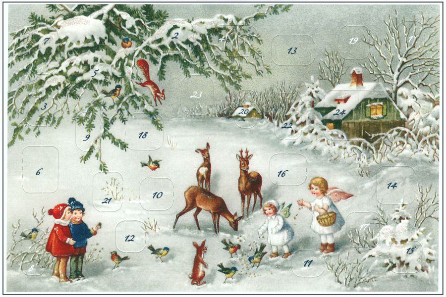 Angels Feeding Birds and Other Forest Creatures Advent Calendar Note Card