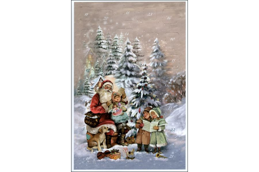 Santa and Children and Puppy Carolling Glittered Advent Calendar Note Card