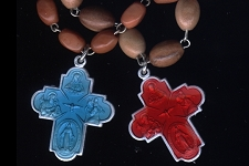 Vintage Rosary Bracelet with Colorful 4-Way Cross