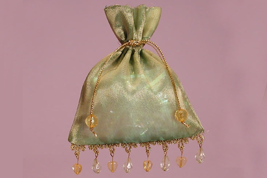 Sheer Moss Green Beaded Gift Bag