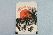 Vintage Hallowe'en Trick or Treat Bag - Graveyard & Goblins in Black & Orange