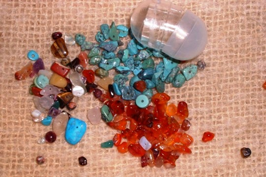 Assortment of Natural Stone Beads in Capsule