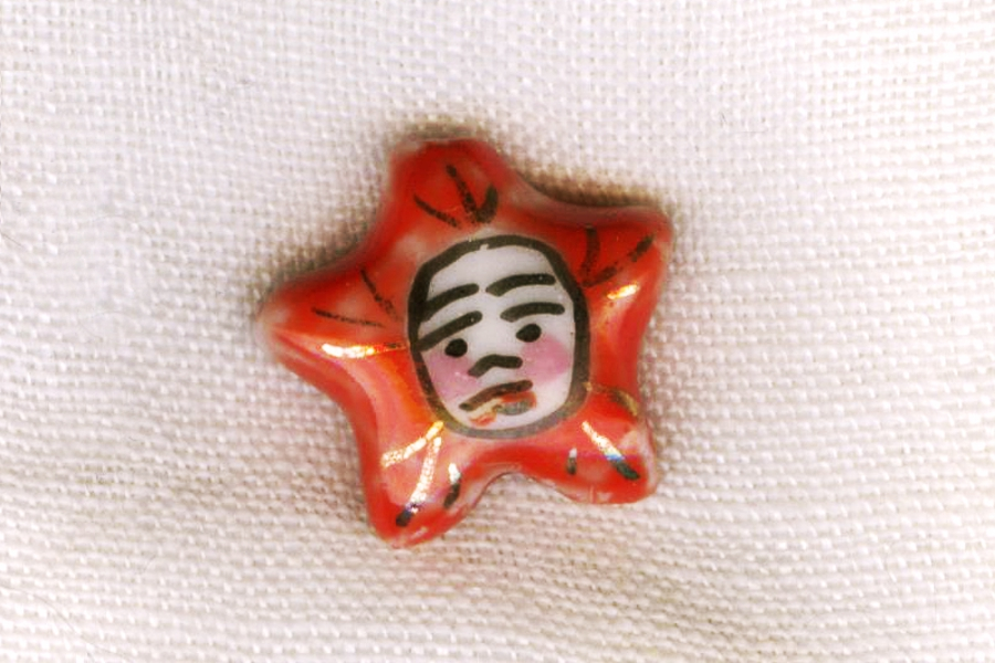 Hand Painted Red Porcelain Star Face Bead