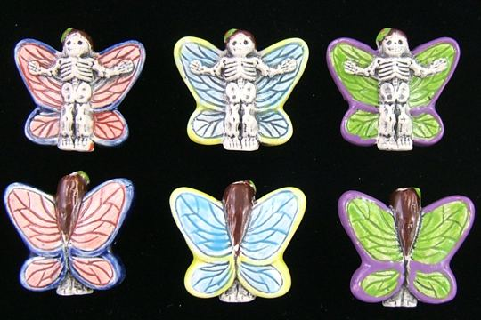 Hand-Painted Small Ceramic Day of the Dead Mariposa Bead