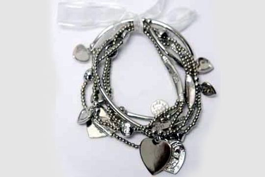 SILVERY Hearts Stretch Bracelet Set