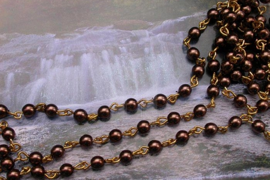 4mm Bronze Glass Pearl and Gold Plated Chain by the Inch