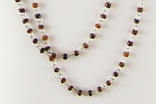Tiny Brown Glass Bead with Silvery Links Rosary Chain by the Inch