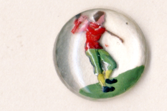 Vintage Glass Cabochon Featuring a Golfer