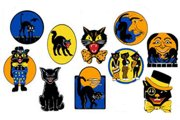 Package of 10 Old Timey Black Cat Halloween Cards