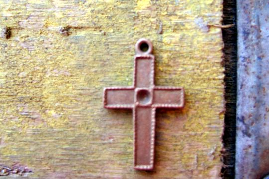 Tiny Vintage Copper Cross Charm