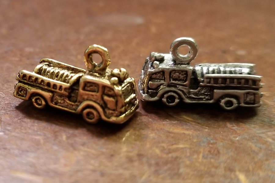 Fire Engine (Fire Truck) Charm in Gold or Silver